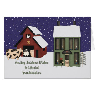 Navidad remilgado de la granja de la nieta tarjeta de felicitación