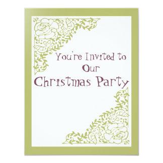 Navidad retra del verde invita invitación 10,8 x 13,9 cm