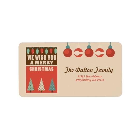 Navidad retro del estilo etiquetas de dirección