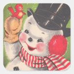 Navidad retro del muñeco de nieve pegatinas cuadradases personalizadas