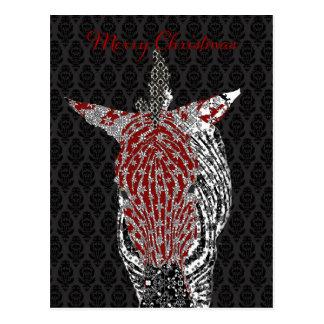 Navidad retro del negro de la postal de la cebra