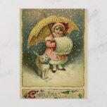 Navidad retro del niño y del gato del vintage del