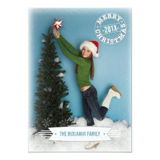 Navidad retro moderno que saluda la tarjeta de la invitación 12,7 x 17,8 cm