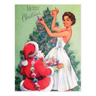 Navidad retro Santa del vintage y postal de la