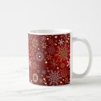 Navidad rojo, blanco y de oro hermoso taza de café