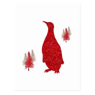 Navidad rojo de los pingüinos del brillo del postal