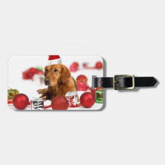 Navidad rojo del gorra del perro W Santa del Etiquetas Para Maletas