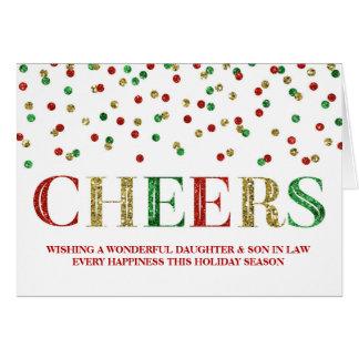 Navidad rojo hija y yerno del confeti del oro tarjeta de felicitación