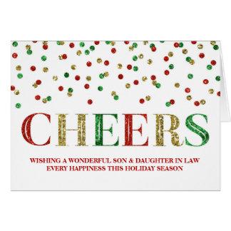 Navidad rojo hijo y nuera del confeti del oro tarjeta de felicitación