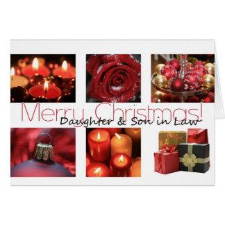 Navidad rojo, negro y blanco de la hija y del yern felicitaciones