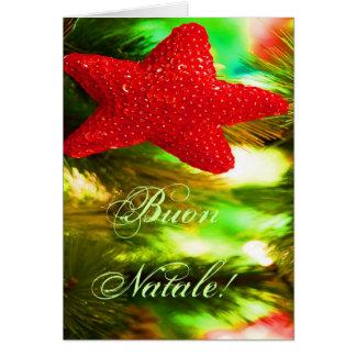 Navidad rojo STAR-II de Buon Natale del navidad Tarjeta De Felicitación