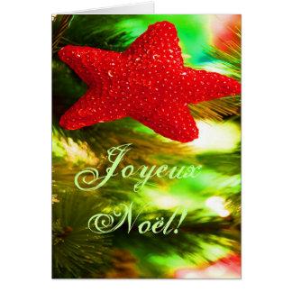 Navidad rojo STAR-II de Joyeux Noel del navidad Tarjeta De Felicitación