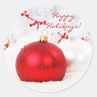 Navidad rojo y blanco buenas fiestas pegatina redonda