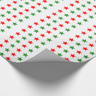 Navidad rojo y estrellas verdes papel de regalo