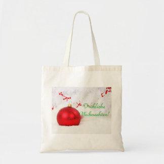 Navidad rojo y Frohliche blanco Weihnachten I Bolsa Lienzo