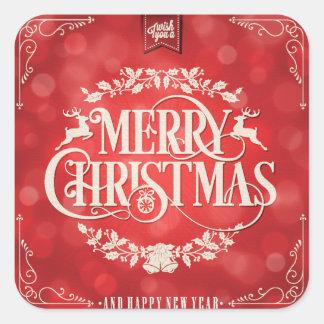 Navidad rojo y poner crema y saludo del Año Nuevo Pegatina Cuadrada