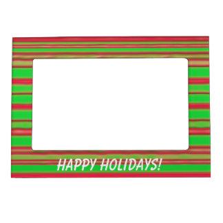 Navidad rojo y rayas verdes marcos magnéticos de fotos
