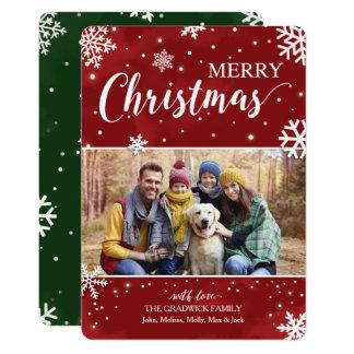 Navidad rojo y verde invitación 12,7 x 17,8 cm