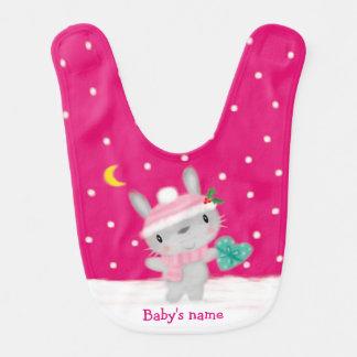 Navidad rosado lindo de la nieve del conejo de baberos para bebé