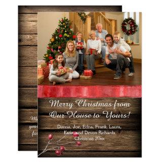 Navidad rústica de la foto de las bayas del acebo invitación 12,7 x 17,8 cm