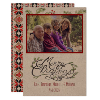 Navidad rústico del día de fiesta de la foto del invitación 12,7 x 17,8 cm