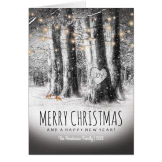 Navidad rústico del invierno, petirrojos y luces tarjeta