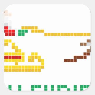 Navidad Santa del arte del pixel y trineo Calcomanías Cuadradass