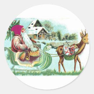 Navidad Santa del vintage y trineo del reno Etiquetas Redondas