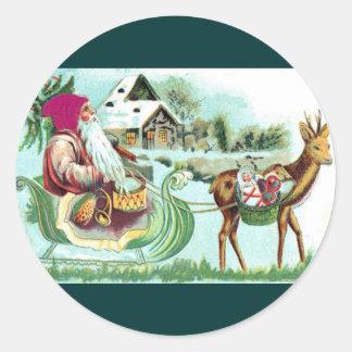 Navidad Santa del vintage y trineo del reno Pegatinas Redondas