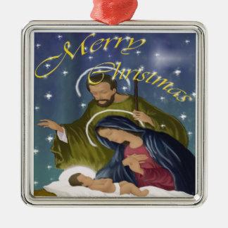 Navidad santo de la familia adorno navideño cuadrado de metal