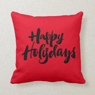 Navidad santo feliz negro rojo de los días de cojín