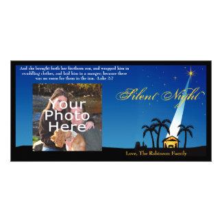 Navidad silencioso azul del cristiano de la noche tarjetas personales