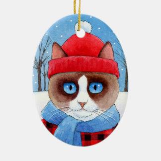 Navidad Snowshow u ornamento del gato de Ragdoll