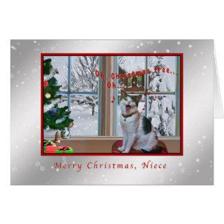 Navidad, sobrina, gato del canto, nieve tarjeta de felicitación