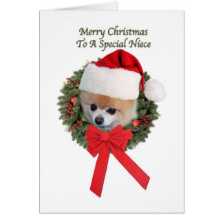 Navidad, sobrina, perro de Pomeranian Tarjeta De Felicitación
