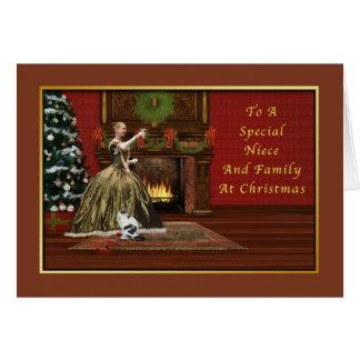 Navidad, sobrina y familia, pasadas de moda tarjeta de felicitación