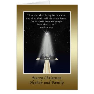 Navidad, sobrino y familia, religiosos tarjetas
