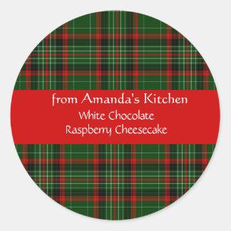 Navidad, tela escocesa roja, personalizado, pegatina redonda