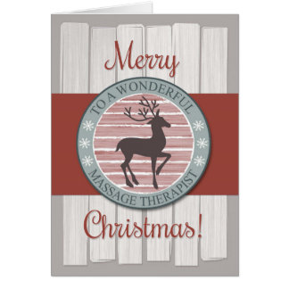 Navidad, terapeuta del masaje con el reno rústico tarjeta de felicitación