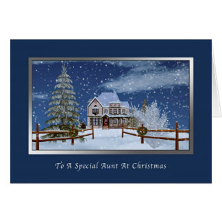 Navidad, tía, escena del invierno Nevado Tarjeta