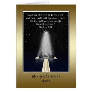 Navidad, tía, religioso, natividad y cruz felicitación