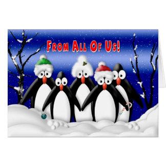 Navidad - todos nosotros - Penquins - negocio Tarjeta De Felicitación