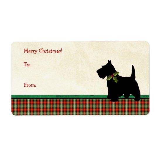 Navidad tradicional de la tela escocesa del perro etiquetas de envío
