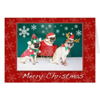 Navidad tres de un barro amasado tarjeta de felicitación