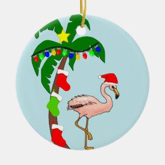 Navidad tropical de la palmera y de los flamencos adorno de cerámica
