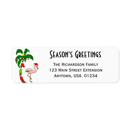 Navidad tropical de la palmera y del flamenco etiquetas de remite