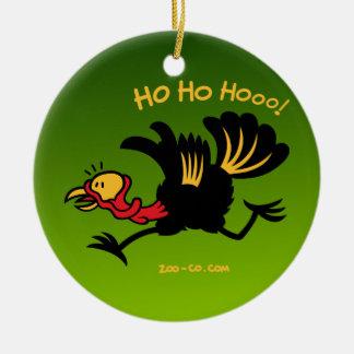 ¡Navidad Turquía que corre lejos! Adorno Navideño Redondo De Cerámica