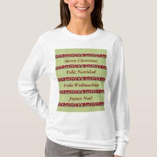 Navidad único del acebo y de la baya en idioma camiseta