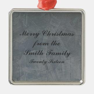 Navidad veneciano gris pizarra del yeso adorno navideño cuadrado de metal