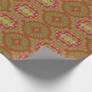Navidad verde magenta rojo del oro adornado papel de regalo